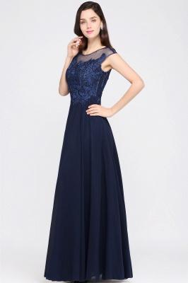 Cheap Cap Sleeve Lace Appliques Long Chiffon Evening Dress in Stock_6