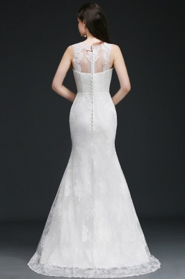 Mermaid Sweep Train Lace New Arrival Wedding Dresses with Buttons_4