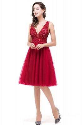 EVIE | A-Line Deep V-Neck Sleeveless Short Prom Dresses with Appliques_5