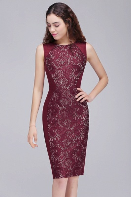 Cheap Cheap Burgungdy Cap Sleeve Lace Mermaid Homecoming Cocktail Party Dress in Stock_4