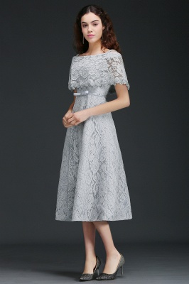 ALEXIS | Cheap Off Shoulder Tea-Length A Line Lace Homecoming Dresses With Sash_2