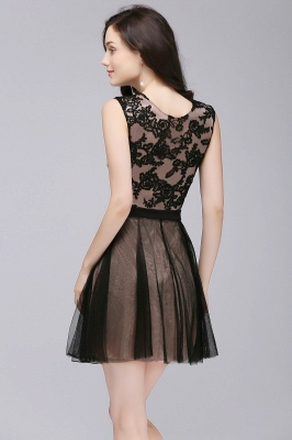 Cheap Short Lace Appliques Tulle Sleeveless Prom Dress in Stock_7