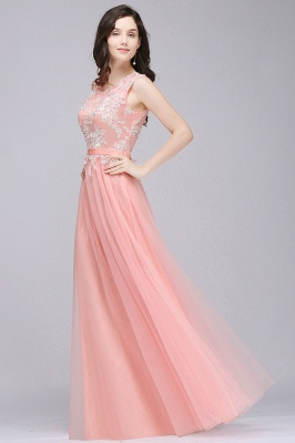 Pink A-line Prom Dress with Lace Appliques In Stock_6