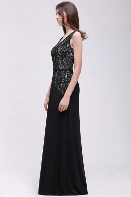 Black Lace V-Neck Long A-line Prom Dress In Stock_4