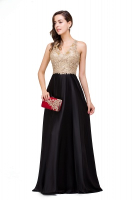 Cheap V-neck Satin Floor-Length A-Line Appliques Backless Prom Dress in Stock_11