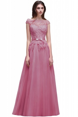 Champagne Evening  Prom Off-the-shoulder Floor-Length with-Belt Lace-Appliques Party Dress_2