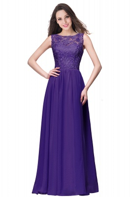ELYSE | A-line Sleeveless Crew Floor-length Lace Top Chiffon Prom Dresses_4