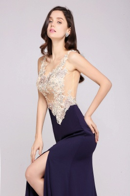 Sheath Sweep Train Dark Navy Evening Dresses_7