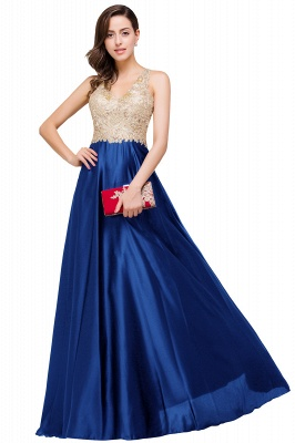 Cheap V-neck Satin Floor-Length A-Line Appliques Backless Prom Dress in Stock_3
