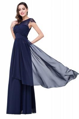 Cheap A-line Ruffles Ribbon Bow Capped Lace Chiffon Bridesmaid Dress in Stock_14