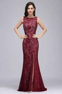 Cheap Crew Front-split Backless Prom Dress Sweep-train Sleeveless Burgundy Lace Mermaid Evening Dress in Stock_1