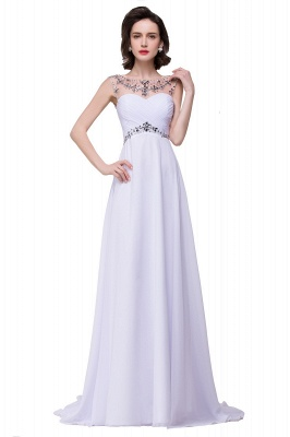 Cheap A-line Sweetheart Chiffon Evening Dress With Crystal in Stock_1