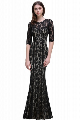 Mermaid Jewel Lace Black Sexy Evening Dresses_2