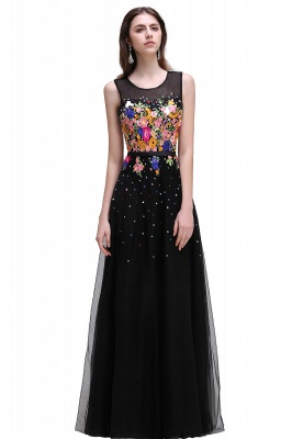 A-line Jewel Neck Tulle Black Prom Dresses with Embroidery Flowers_2
