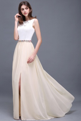 Sheath Jewel White Long Evening Dresses With Beads_6