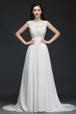 A-line Scoop Modest Wedding Dress With Lace Appliques_2