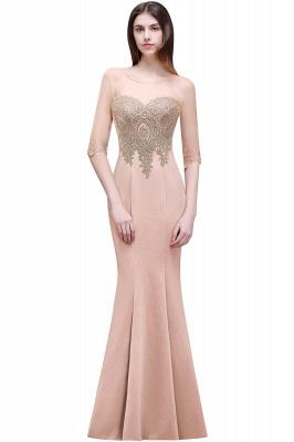 BELLA | Sheath Round Neck Floor-Length Burgundy Prom Dresses With Applique_1