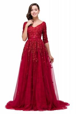 A-Line Floor-Length V-neck Half Sleeves Lace Appliques Prom Dresses_4