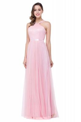 Cheap Sheath Pink Tulle Ribbon Sash Simple Bridesmaid Dress in Stock_4