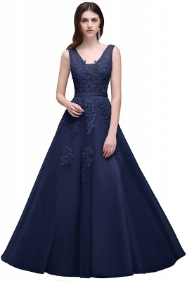 ADDYSON | A-line Floor-length Tulle Bridesmaid Dress with Appliques_7