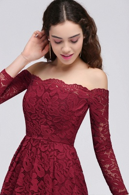 Cheap A-Line Off-the-Shoulder Short Lace Burgundy Homecoming Dress in Stock_4
