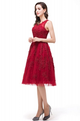 A-Line Knee-Length Red Lace Tull Prom Dresses with sequins_5