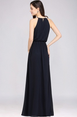 Dark Navy Halter Chiffon Sleeveless Bridesmaid Dresses | Cheap Wedding Guest Dresses_12