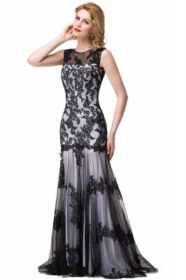 DANIELA | Scoop Neck lace Applique Mermaid Black Prom dresses_9