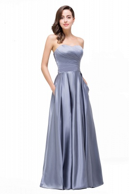 Elegant Long A line Strapless Prom Gown Evening Dress In Stock_6