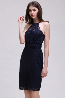 Cheap Elegant Halter Lace Sheath Short Prom Dress in Stock_9