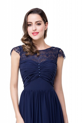 Cheap A-line Ruffles Ribbon Bow Capped Lace Chiffon Bridesmaid Dress in Stock_16
