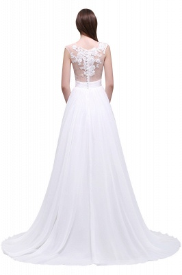 Cheap Elegant White Sheer Lace Chiffon Beach Wedding Dress in Stock_6