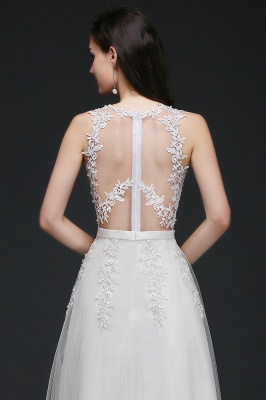 AMARI | A-Line Jewel Floor Length Tulle Wedding Dresses with Lace_10