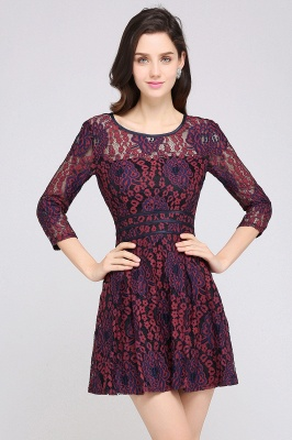 Cheap Lace Sleeves Jewel Short Cheap Evening Dress in Stock_2