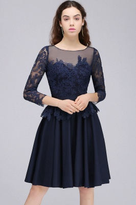 Cheap Dark Navy A-line Homecoming Dress in Stock_4