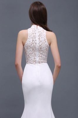 ALANNA | High Neck Mermaid  Lace White Wedding Dresses With Ruffles_7
