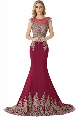 Cheap Mermaid Court Train Chiffon Evening Dress with Appliques in Stock_3