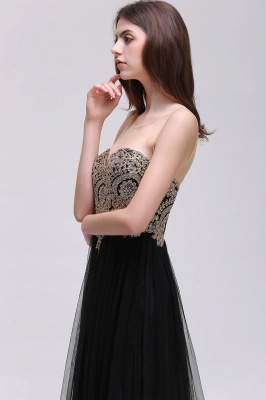 Black Tulle Long A-line Prom Dress with Appliques In Stock_10