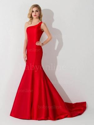 Mermaid One Shoulder Satin Long Affordable Evening Dress_1