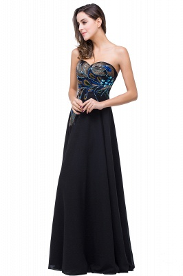 A-line Sweetheart Black Cheap Evening Dress with Embroidery_4