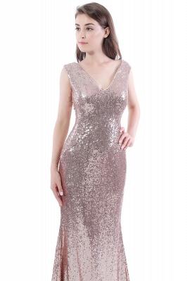 Mermaid Floor Length V-Neck Long Sequins Prom Dresses_7