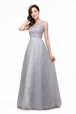 FRANKIE | A-Line Sleeveless Tulle Prom Dresses Long Party Gown_4