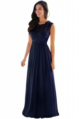 Elegant Sheath Crew Sleeveless Lace Top Chiffon Bridesmaid Dress_10