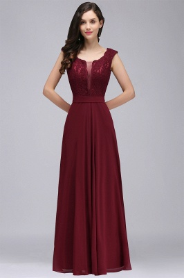 Cheap Elegant Lace A-line Long Burgundy Prom Dress in Stock_10