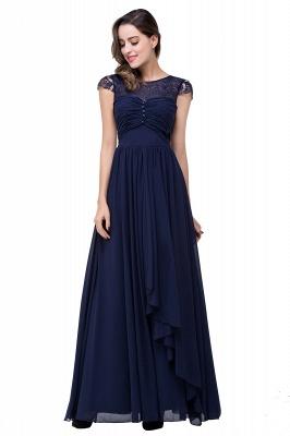 Cheap A-line Ruffles Ribbon Bow Capped Lace Chiffon Bridesmaid Dress in Stock_9