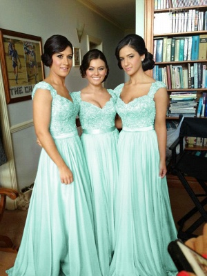 Cheap A-line V Neck Chiffon Bridesmaid Dress with Appliques in Stock_11