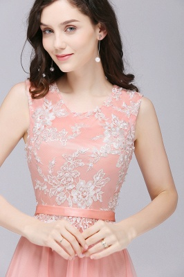 Pink A-line Prom Dress with Lace Appliques In Stock_7