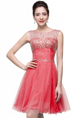 Cheap Open Back Sleeveless Chiffon Homecoming Dress Crystal Beads Tulle Short Prom Dress in Stock_2