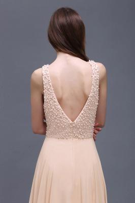 Sheath Sheer Chiffon Long Evening Dresses With Pearls_3