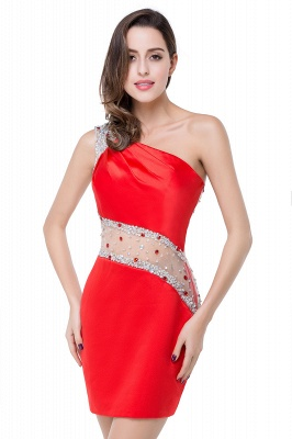 Cheap Cheap Crystal Beading One-shoulder Short Mermaid Prom Dress in Stock_12